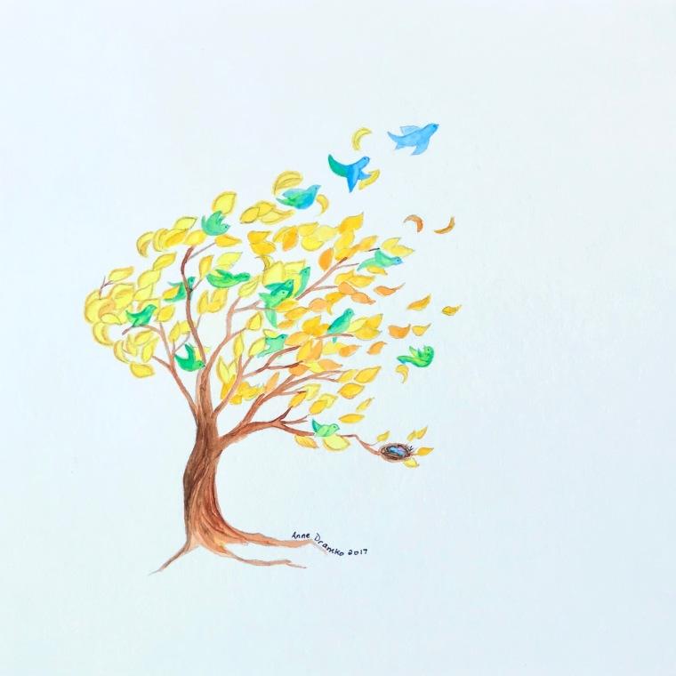 birds leafing tree